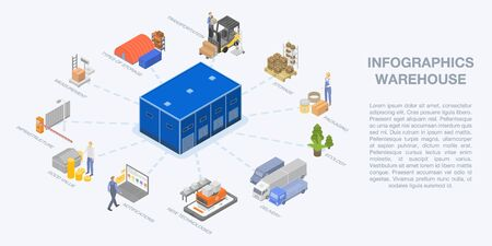 Warehouse infographic. Isometric of warehouse vector infographic for web design