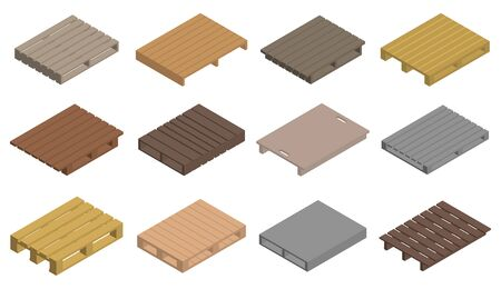 Pallet icons set. Isometric set of pallet vector icons for web design isolated on white background Illusztráció
