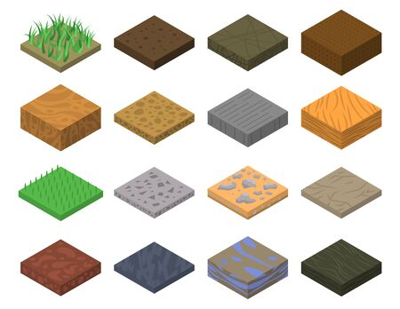 Soil icons set. Isometric set of soil vector icons for web design isolated on white background
