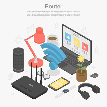Router modem concept background, isometric style