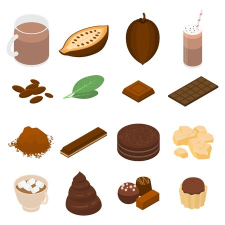 Cocoa icons set. Isometric set of cocoa vector icons for web design isolated on white background Foto de archivo - 130248155