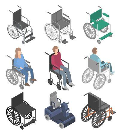 Ensemble d'icônes de fauteuil roulant. Ensemble isométrique d'icônes vectorielles en fauteuil roulant pour la conception web isolé sur fond blanc Vecteurs
