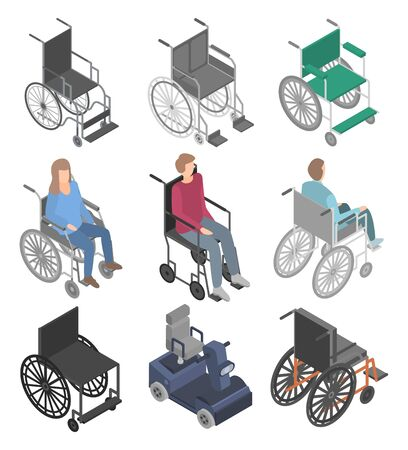 Wheelchair icons set. Isometric set of wheelchair vector icons for web design isolated on white background Vektorové ilustrace