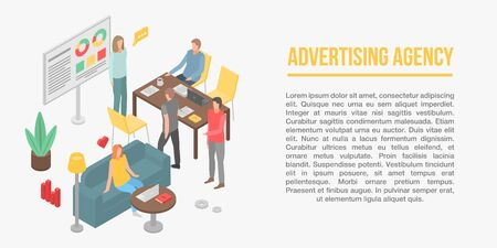 Advertising agency concept banner. Isometric illustration of advertising agency vector concept banner for web design Banque d'images - 130248173