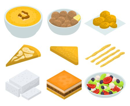 Greek cuisine icons set. Isometric set of Greek cuisine vector icons for web design isolated on white background
