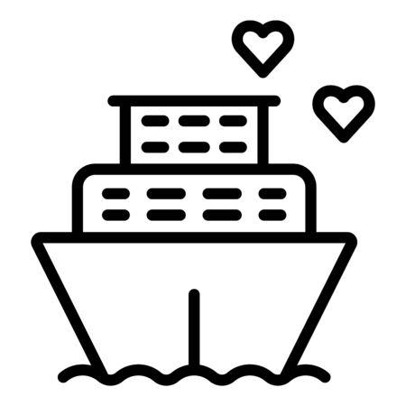 Honeymoon ship cruiser icon. Outline honeymoon ship cruiser vector icon for web design isolated on white background