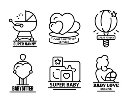 Modern babysitter logo set. Outline set of modern babysitter vector logo for web design isolated on white background