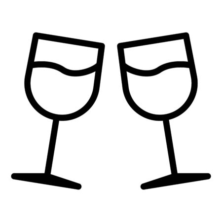 Honeymoon toast glasses icon, outline style Illustration