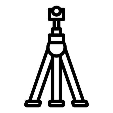 Camera on tripod icon, outline style
