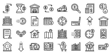 Conjunto de iconos de arrendamiento, estilo de contorno Ilustración de vector
