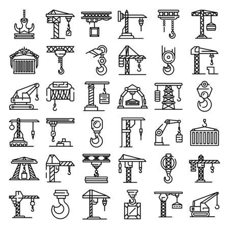 Zestaw ikon żurawia, styl konturu