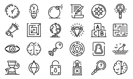 Quest icons set, outline style