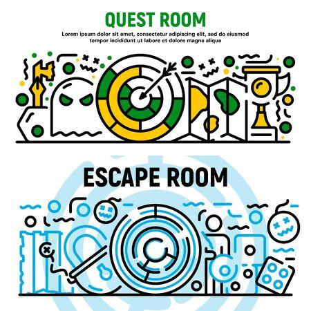 Quest room banner set. Outline set of quest room vector banner for web design Illusztráció