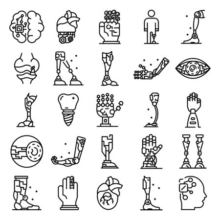 Artificial limbs icons set. Outline set of artificial limbs vector icons for web design isolated on white background