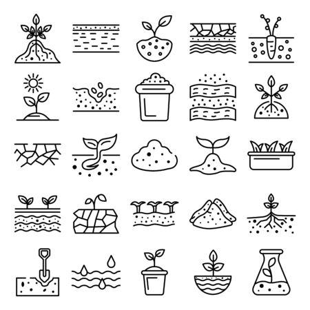 Bodensymbole gesetzt. Umrisse von Bodenvektorsymbolen für das Webdesign isoliert auf weißem Hintergrund