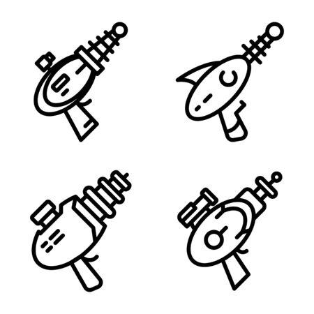 Blaster icons set, outline style Illustration