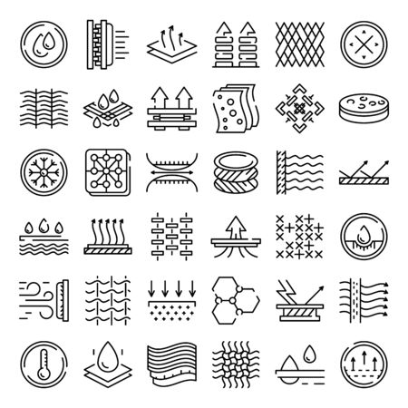 Set di icone delle caratteristiche del tessuto. Delineare l'insieme delle icone vettoriali delle caratteristiche del tessuto per il web design isolato su sfondo bianco Vettoriali