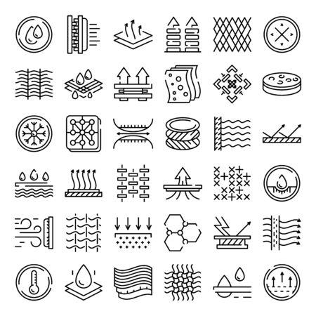 Stofffunktionssymbole eingestellt. Umreißen Sie einen Satz von Stoffmerkmalsvektorsymbolen für das Webdesign, die auf weißem Hintergrund isoliert sind Vektorgrafik