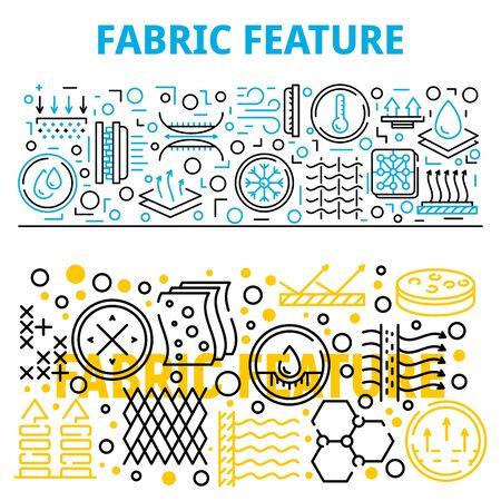 Fabric feature breathable banner set. Outline set of fabric feature breathable vector banner for web design