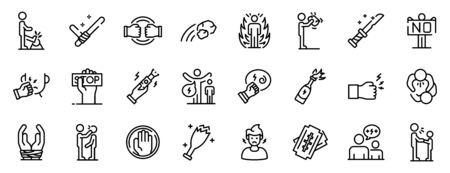 Violence icons set, outline style