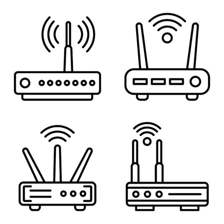 Router icons set, outline style