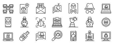 Hacker icons set, outline style Векторная Иллюстрация