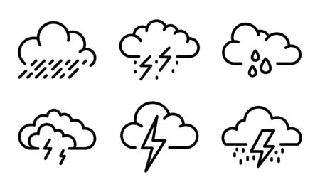 Thunderstorm icons set. Outline set of thunderstorm vector icons for web design isolated on white background