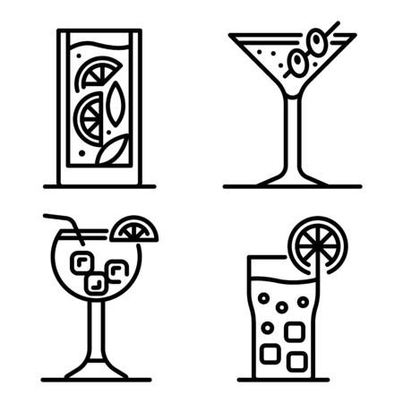 Cocktail icons set. Outline set of cocktail vector icons for web design isolated on white background