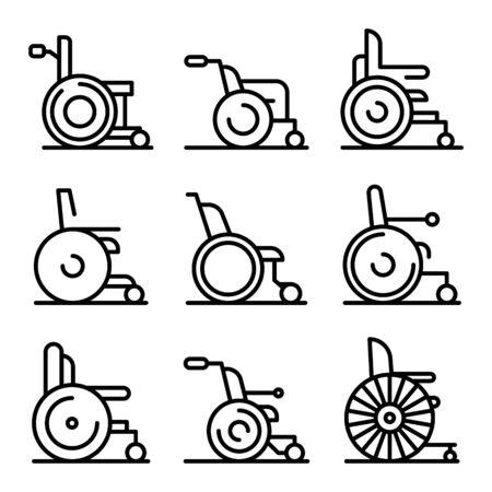 Conjunto de iconos de silla de ruedas. Esquema conjunto de iconos de vector de silla de ruedas para diseño web aislado sobre fondo blanco