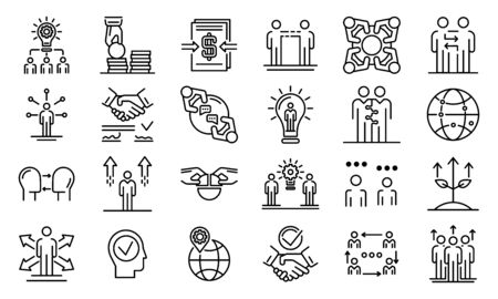 Business cooperationicons set, outline style 向量圖像