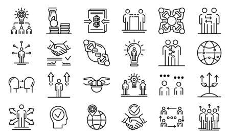 Conjunto de iconos de cooperación empresarial, estilo de contorno