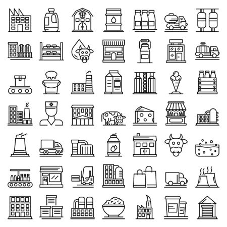 Milk factory icons set, outline style Illustration