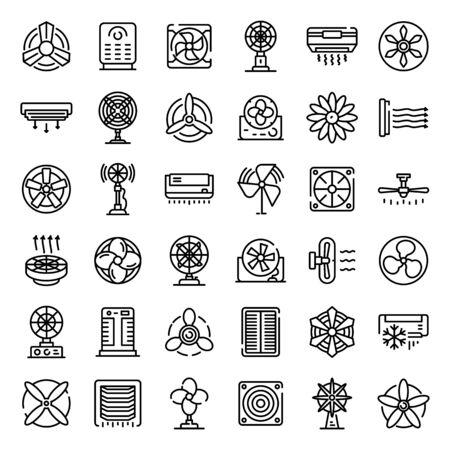 Ventilator icons set, outline style 일러스트