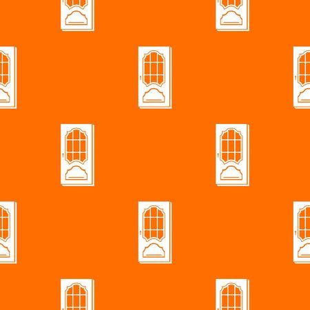 Door with glass pattern vector orange Çizim