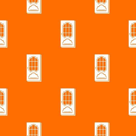 Door with glass pattern vector orange Illustration