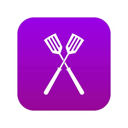 Two metal spatulas icon digital purple for any design isolated on white vector illustration
