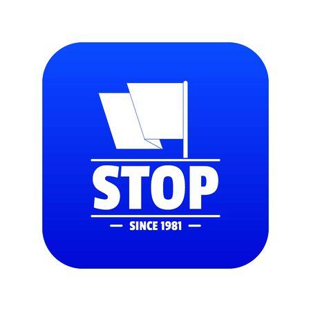 Social protest stop icon blue vector