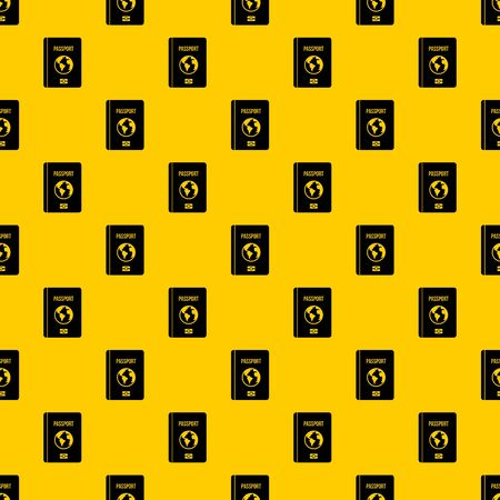 Passport pattern seamless vector repeat geometric yellow for any design Ilustração