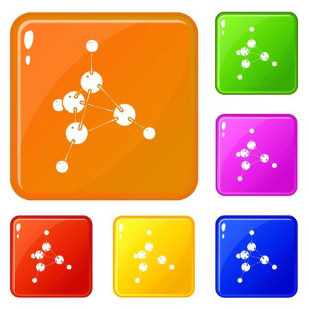 Methanol icons set collection vector 6 color isolated on white background