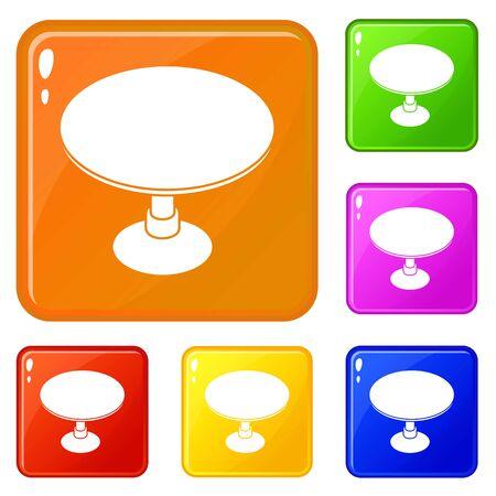 Tavola rotonda set di icone vettore di raccolta 6 colore isolato su sfondo bianco