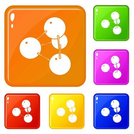 Pyramide molecule icons set vector color Illustration