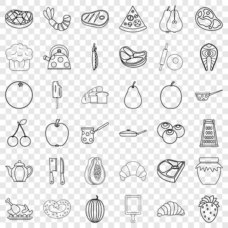 Berry icons set, outline style