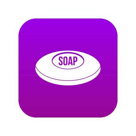Soap icon digital purple for any design isolated on white vector illustration