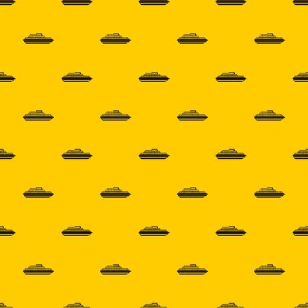 Cruise ship pattern seamless vector repeat geometric yellow for any design Illustration