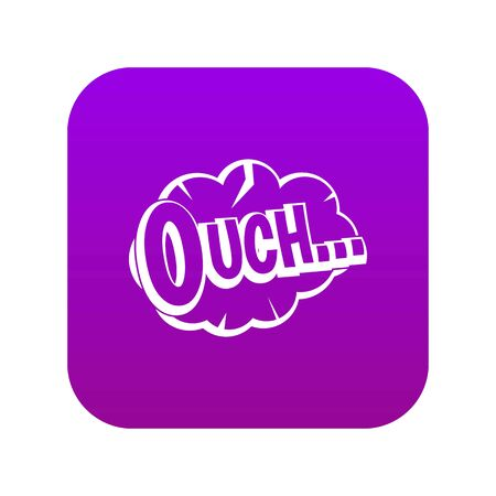 Ouch, speech cloud icon digital purple for any design isolated on white vector illustration 일러스트