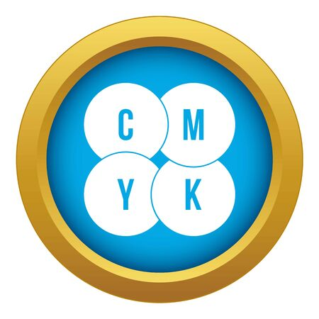 CMYK circles icon blue vector isolated
