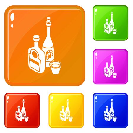 Wine, whiskey bottle icons set collection vector 6 color isolated on white background Çizim