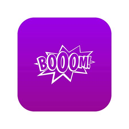 Boom, explosion bubble icon digital purple Vettoriali