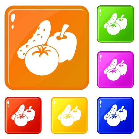 Vegetables food icons set collection vector 6 color isolated on white background