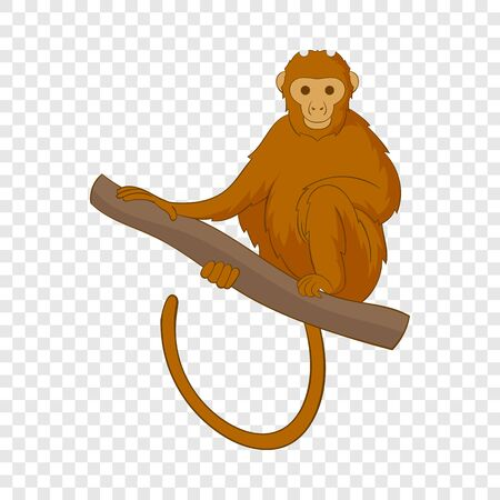 Monkey sitting on a branch icon. Cartoon illustration of monkey sitting on a branch vector icon for web Ilustrace